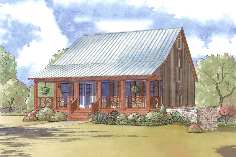 Cabin Exterior - Front Elevation Plan #923-9