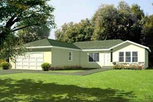 Ranch Exterior - Front Elevation Plan #1-1318