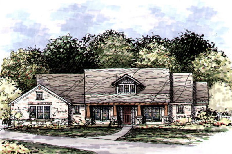 Craftsman Style House Plan - 3 Beds 3 Baths 2500 Sq/Ft Plan #141-328 Exterior - Front Elevation