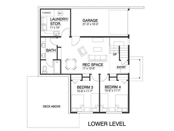 Contemporary Style House Plan - 4 Beds 2.5 Baths 1937 Sq/Ft Plan #519-1 Floor Plan - Lower Floor Plan