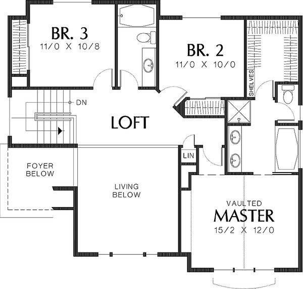 Upper Level Floor plan  - 2000 square foot Craftsman home
