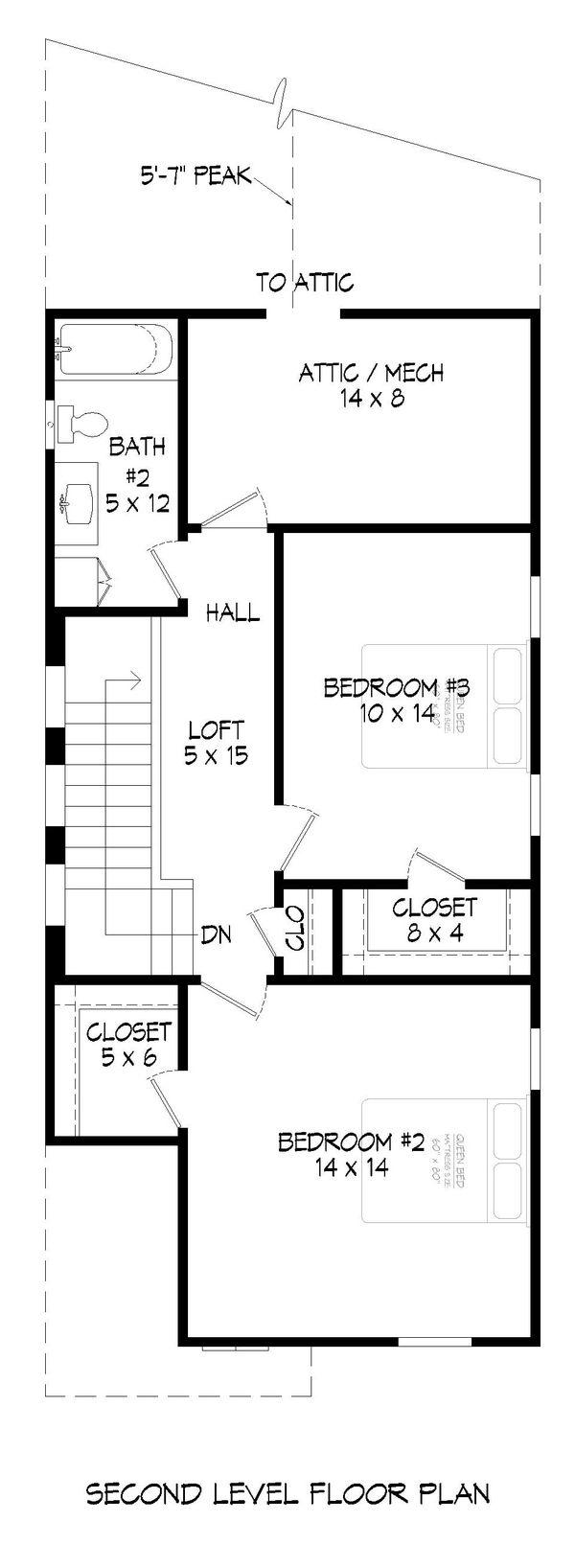 Home Plan - Traditional Floor Plan - Upper Floor Plan #932-399