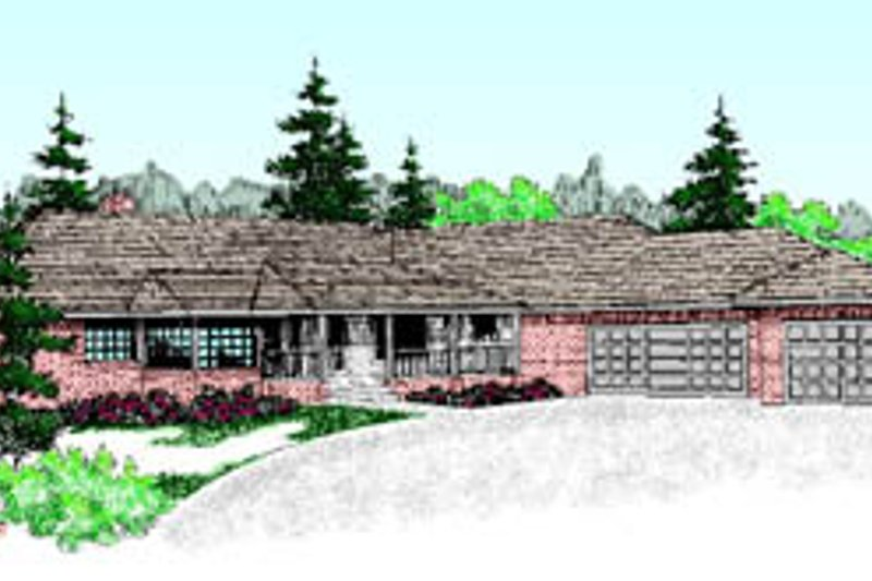 Ranch Exterior - Front Elevation Plan #60-190 - Houseplans.com
