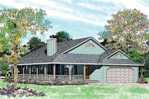 Ranch Exterior - Front Elevation Plan #72-335
