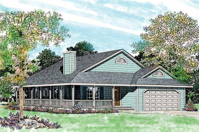 House Blueprint - Ranch Exterior - Front Elevation Plan #72-335