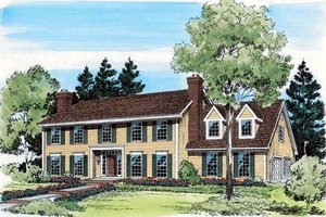 Colonial Exterior - Front Elevation Plan #312-303