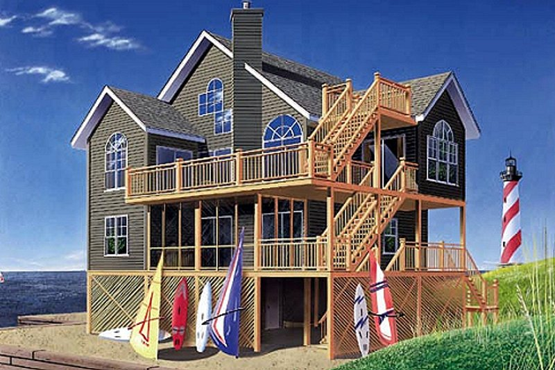 Beach Exterior - Front Elevation Plan #23-2041 - Houseplans.com