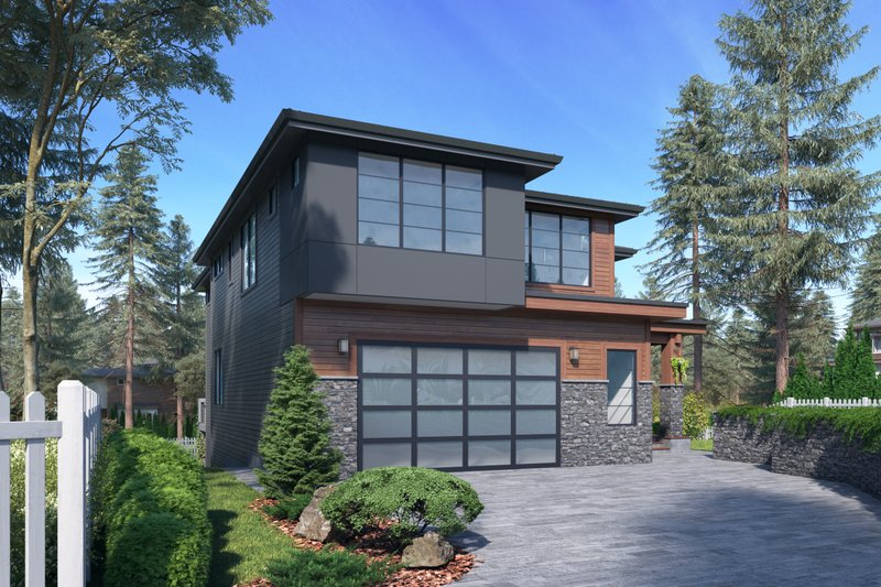 Contemporary Style House Plan - 6 Beds 4.5 Baths 5200 Sq/Ft Plan #1066-117 Exterior - Front Elevation