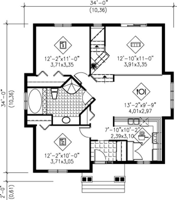 European Floor Plan - Main Floor Plan Plan #25-4233
