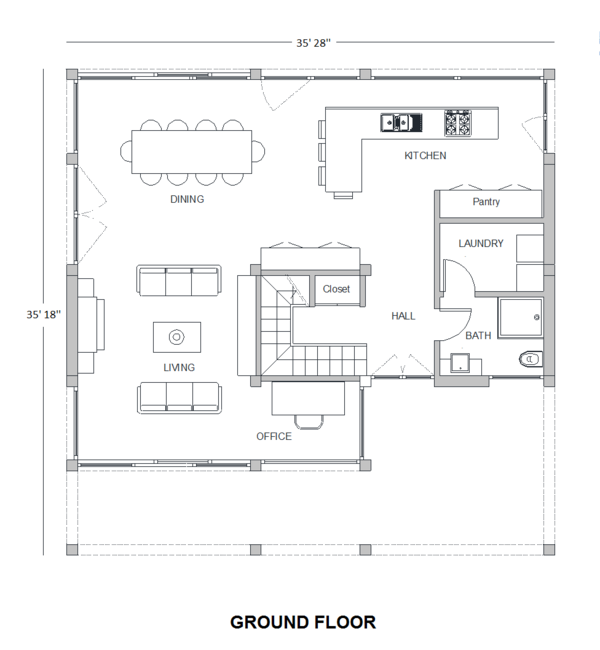 Modern Floor Plan - Main Floor Plan Plan #542-4
