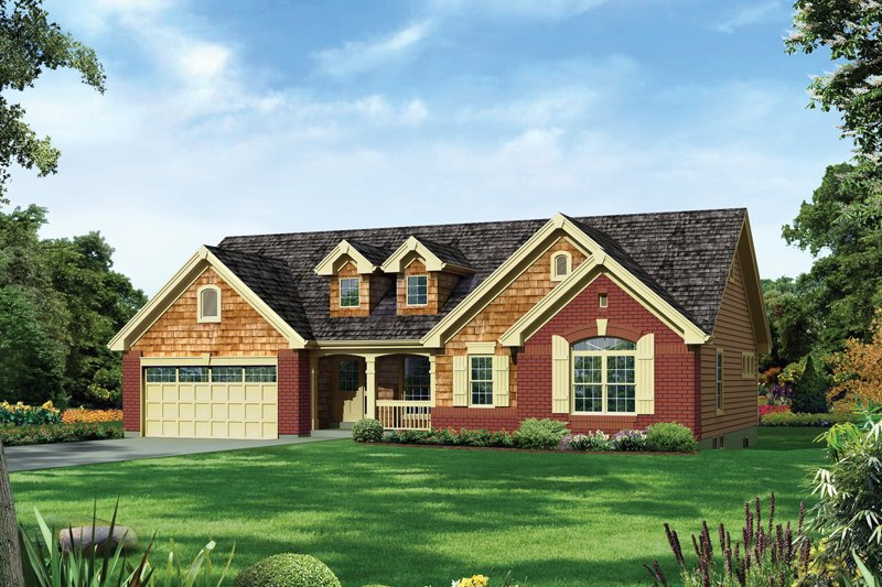 Traditional Style House Plan - 3 Beds 2 Baths 1740 Sq/Ft Plan #57-600 Exterior - Front Elevation