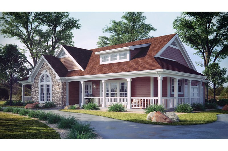 Farmhouse Style House Plan - 4 Beds 2 Baths 2029 Sq/Ft Plan #57-178 Exterior - Front Elevation