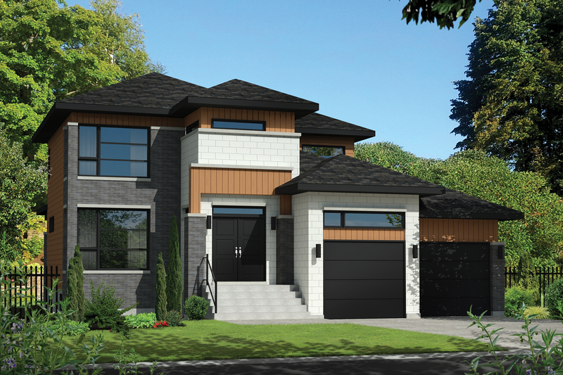 Contemporary Style House Plan - 3 Beds 2 Baths 2132 Sq/Ft Plan #25-4341 Exterior - Front Elevation
