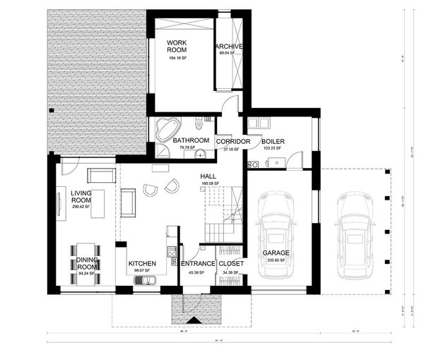 Modern Floor Plan - Main Floor Plan Plan #906-3