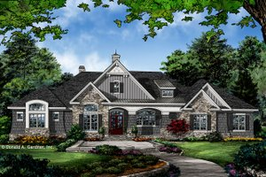 Architectural House Design - European Exterior - Front Elevation Plan #929-1023