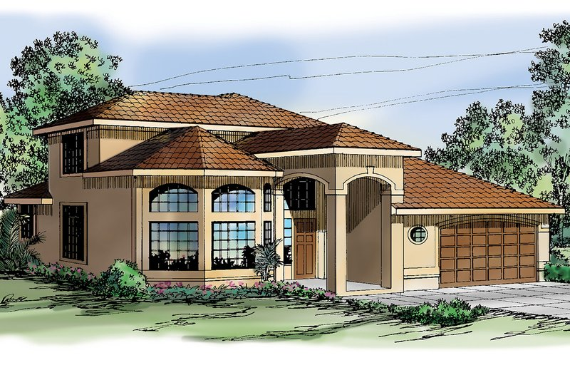 Mediterranean Exterior - Front Elevation Plan #124-235