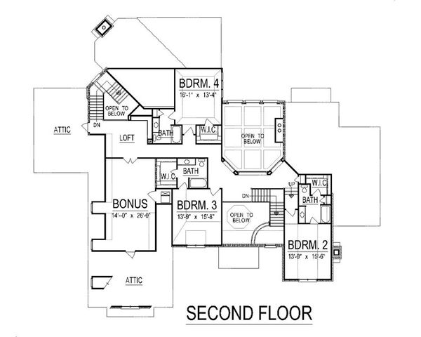 European Floor Plan - Upper Floor Plan Plan #458-7