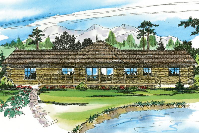 Log Style House Plan - 2 Beds 2 Baths 1390 Sq/Ft Plan #124-140