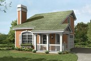 Cottage Style House Plan - 1 Beds 1.5 Baths 641 Sq/Ft Plan #57-392 Exterior - Front Elevation