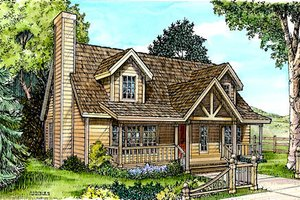 Cottage Exterior - Front Elevation Plan #140-123