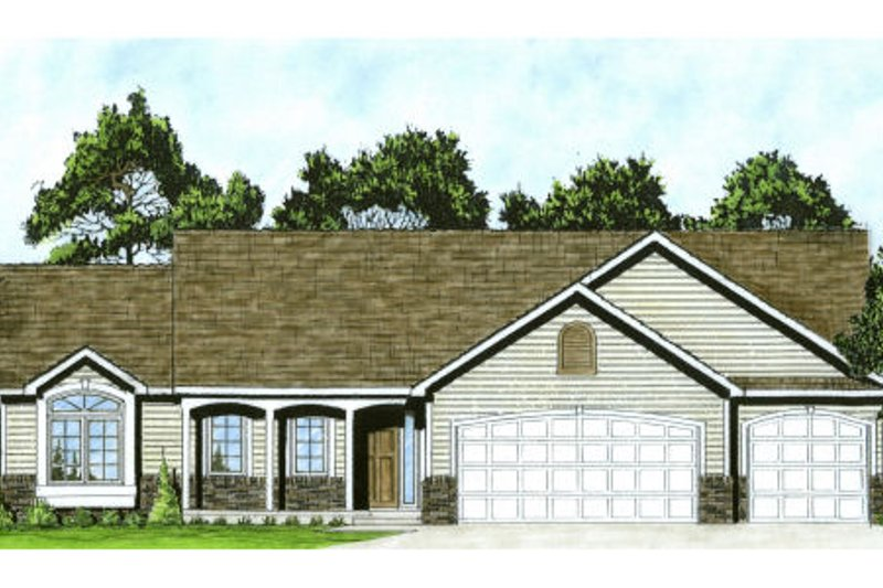 Ranch Style House Plan - 3 Beds 2 Baths 1465 Sq/Ft Plan #58-196 Exterior - Front Elevation