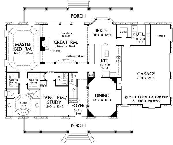 Country Floor Plan - Main Floor Plan #929-12
