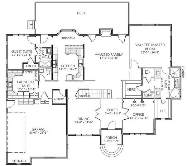 European Floor Plan - Main Floor Plan Plan #898-22