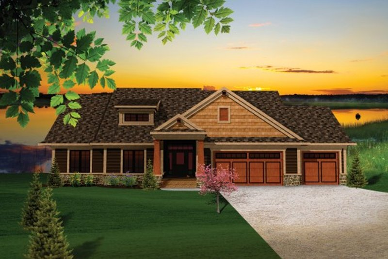 Craftsman Exterior - Front Elevation Plan #70-1097