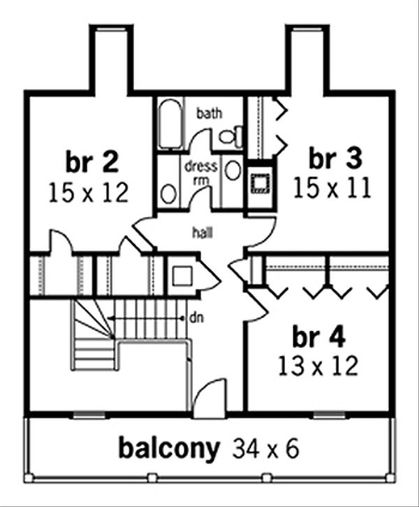 Colonial Floor Plan - Upper Floor Plan Plan #45-332