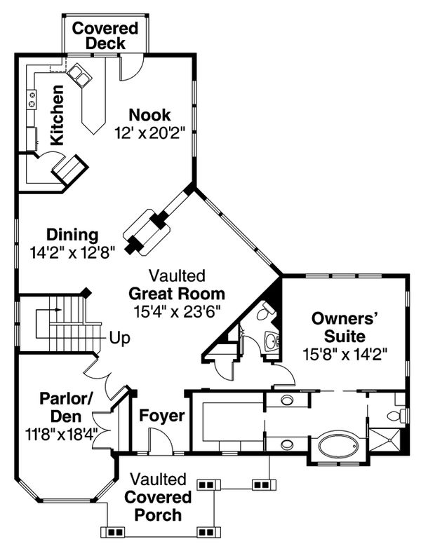 Craftsman Floor Plan - Main Floor Plan Plan #124-622