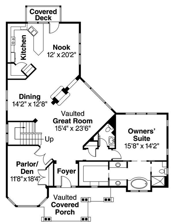 Craftsman Floor Plan - Main Floor Plan Plan #124-622