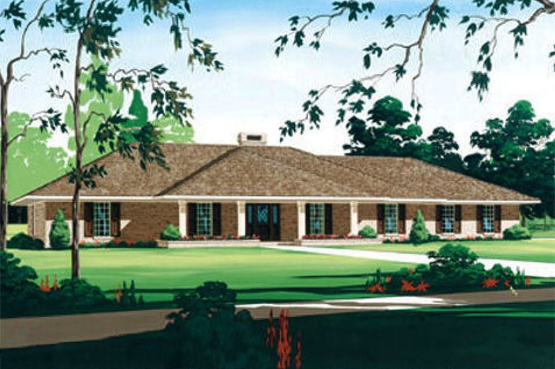Ranch Style House Plan - 4 Beds 2.5 Baths 2719 Sq/Ft Plan #45-153 Exterior - Front Elevation