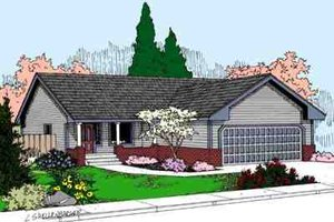 Ranch Exterior - Front Elevation Plan #60-611