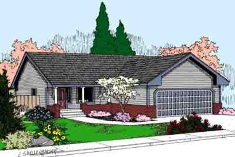 Ranch Style House Plan - 3 Beds 2 Baths 978 Sq/Ft Plan #60-611 Exterior - Front Elevation