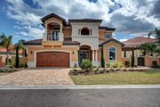 Mediterranean Style House Plan - 4 Beds 4 Baths 3012 Sq/Ft Plan #27-445 Exterior - Front Elevation