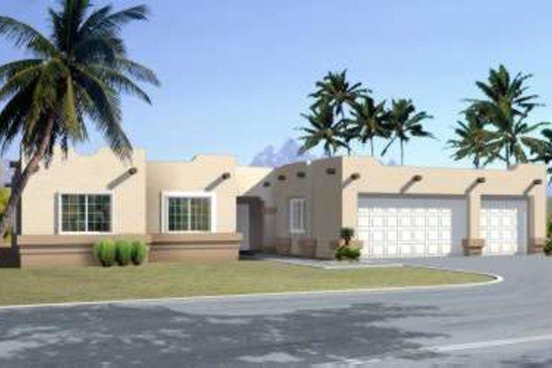 Adobe / Southwestern Style House Plan - 4 Beds 2.5 Baths 1951 Sq/Ft Plan #1-1384