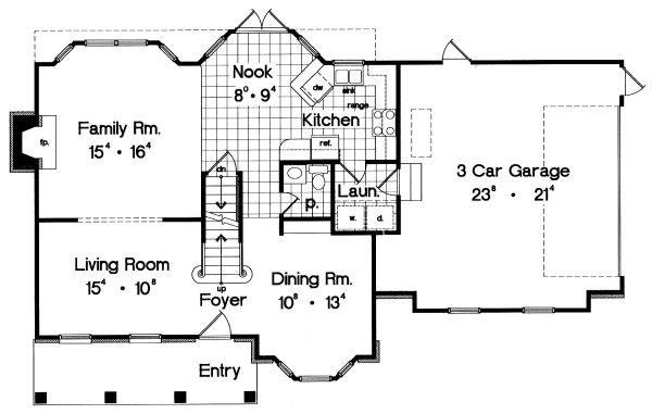 Traditional Floor Plan - Main Floor Plan #417-164