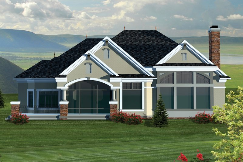Ranch Exterior - Rear Elevation Plan #70-1064 - Houseplans.com