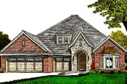 European Style House Plan - 3 Beds 2.5 Baths 2013 Sq/Ft Plan #310-978 Exterior - Front Elevation