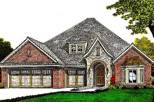 European Exterior - Front Elevation Plan #310-978