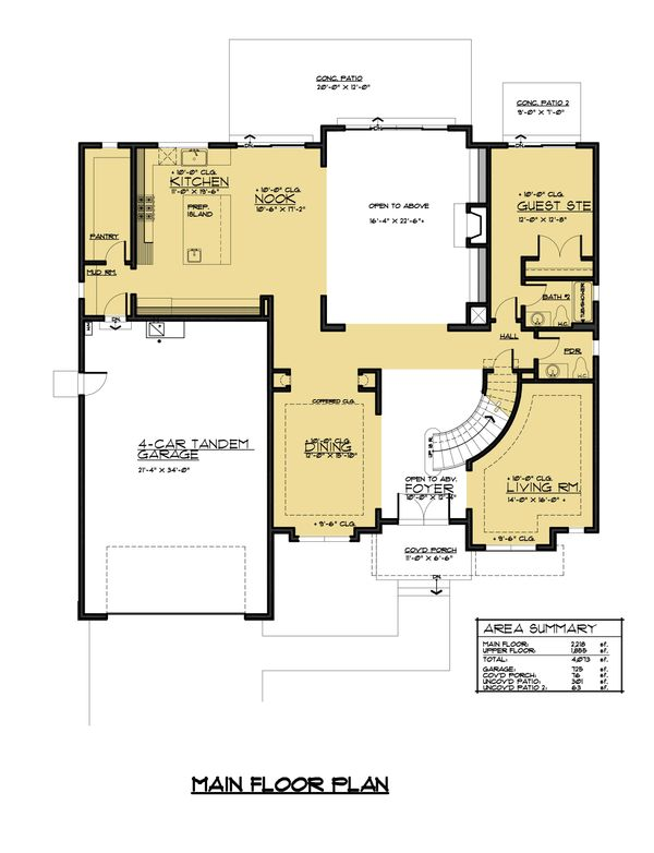 Prairie Floor Plan - Main Floor Plan Plan #1066-72