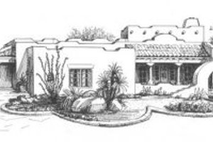 Adobe / Southwestern Exterior - Front Elevation Plan #4-195