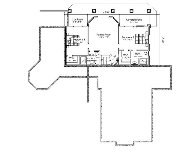Contemporary Floor Plan - Lower Floor Plan Plan #451-22