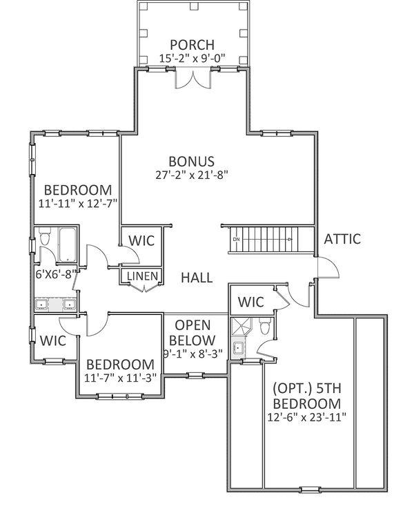 Traditional Floor Plan - Upper Floor Plan Plan #898-27