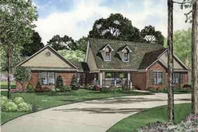 Southern Style House Plan - 3 Beds 2 Baths 1853 Sq/Ft Plan #17-2164 Exterior - Front Elevation