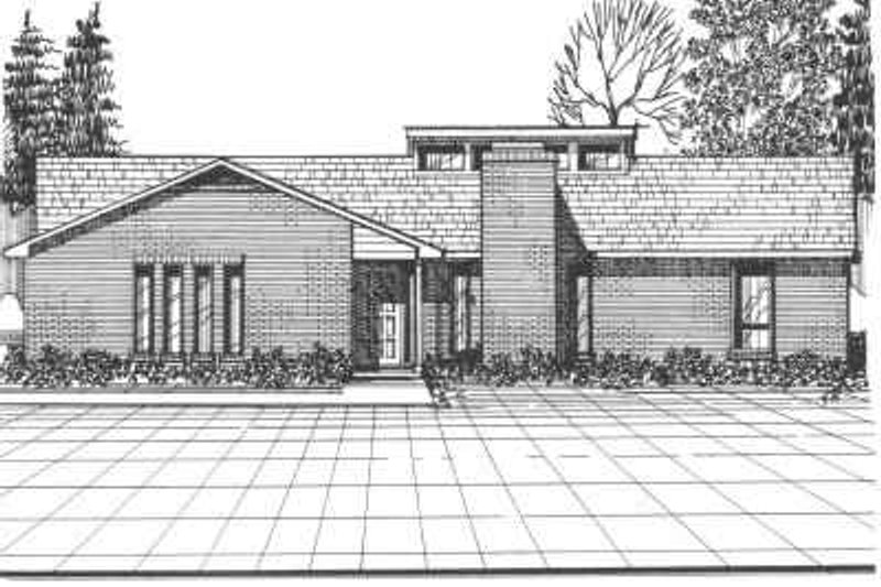 Contemporary Style House Plan - 3 Beds 2 Baths 1345 Sq/Ft Plan #30-125 Exterior - Front Elevation