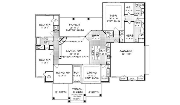 Tudor Floor Plan - Main Floor Plan Plan #45-373