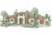 Mediterranean Style House Plan - 3 Beds 3.5 Baths 3606 Sq/Ft Plan #426-18 Exterior - Front Elevation