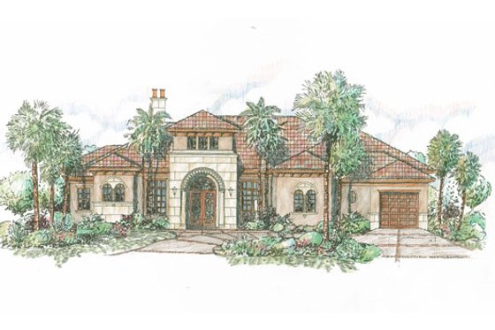 Mediterranean Exterior - Front Elevation Plan #426-18