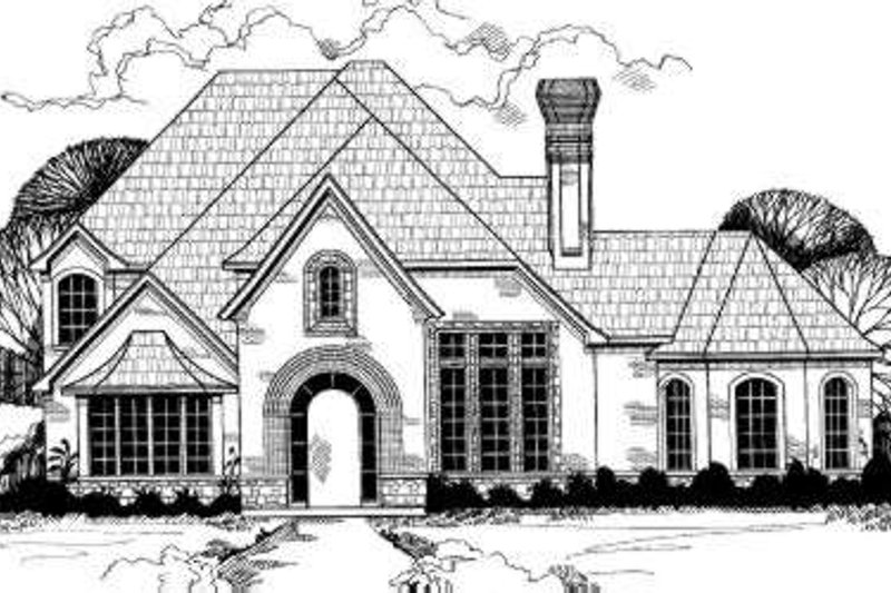 European Style House Plan - 6 Beds 4.5 Baths 4457 Sq/Ft Plan #317-142 Exterior - Front Elevation